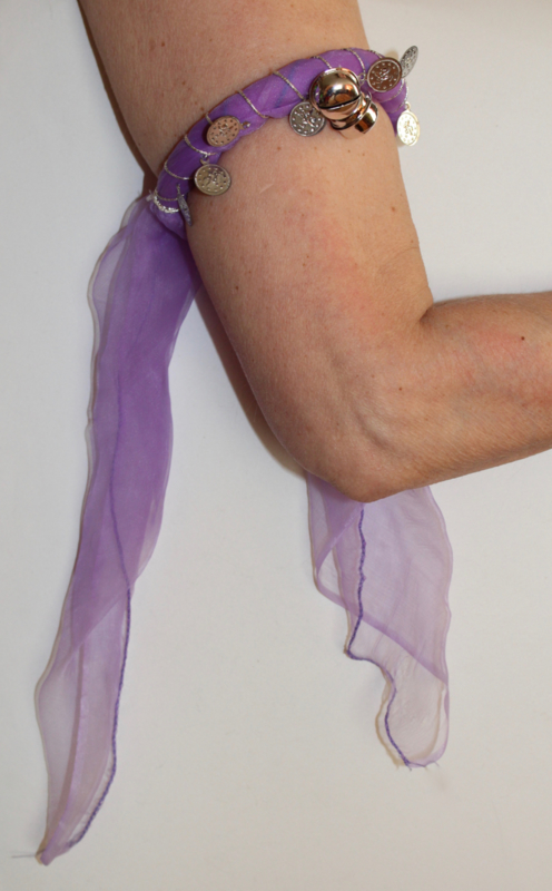 Enkelband / Armband / Hoofdband met muntjes en belletjes buikdans, Afrikaanse dans LILA PAARS ZILVER - Anklet / Bracelet / Headband Bellydance, African dance LILAC PURPLE SILVER