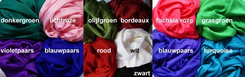 Sluier Sjaal Kunst Zijde 12 kleuren GROEN,LICHTROZE,OLIJFGROEN,BORDEAUX,FUCHSIA,GRASGROEN,VIOLET PAARS,PAARS BLAUW,ROOD,WIT,TURQUOISE,ZWART - Veil Faux Silk 12 colors DARK GREEN,SOFT PINK,OLIVE GREEN,GRASS GREEN,BURGUNDY,BRIGHT PINK, PURPLE,TURQUOISE,WHIT