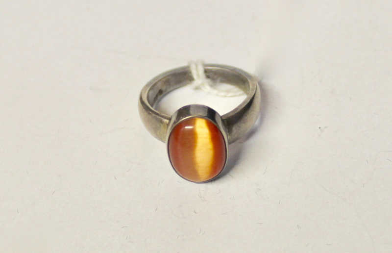 ZILVEREN ring met ORANJE Kattenoog  - maat 57-58 size - Ring SILVER with ORANGE Cats eye