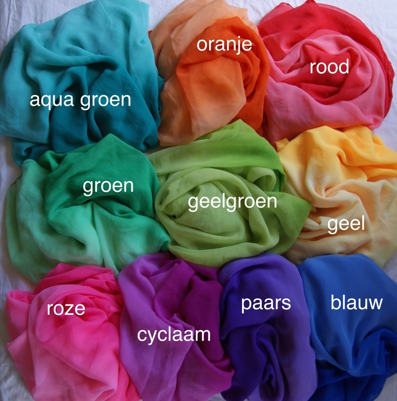 Ombré Regenboog sluiers bicolor rechthoekig GEEL, MINT/AQUA GROEN, FLUO ROSE, BLAUW, GEELGROEN, CYCLAAM, ORANJE, PAARS -  Ombré Gradient rainbow veils rectangle