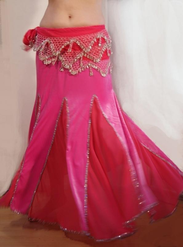 Buikdans rok zeemeermin fluweel FLUO ROZE / FEL ROSE ZILVER M L XL - Bellydance skirt mermaid velvet chiffon BRIGHT PINK SILVER