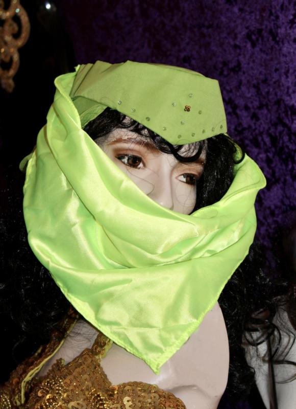 Harem sluier met hoedje (FLUO) GROEN - Harem veil with hat lady (FLUORESCENT) GREEN