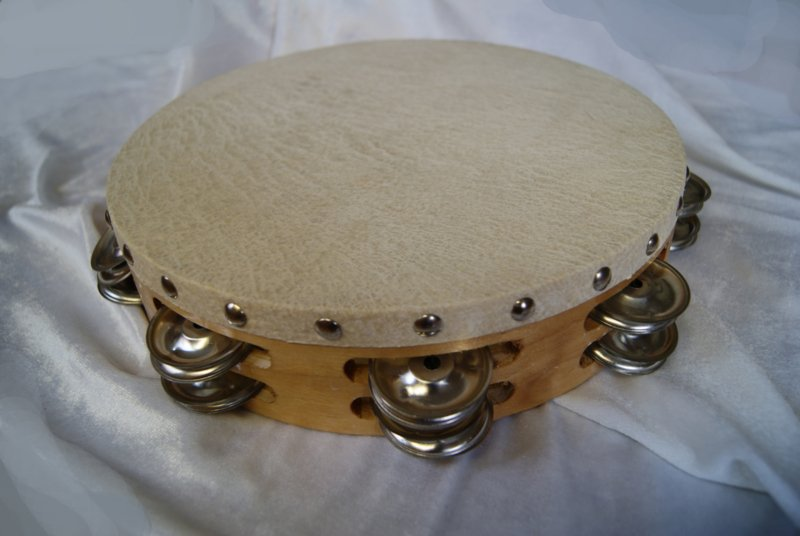 Grote Tamboerijn met 2 rijen belletjes - diameter 26 cm - Tambourine 2 rows of bells