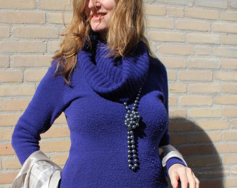 Lang Kralen halssnoer, kralenketting ANTRACIET DONKER GRIJS glanzend -  Long beads-necklace DARK GREY
