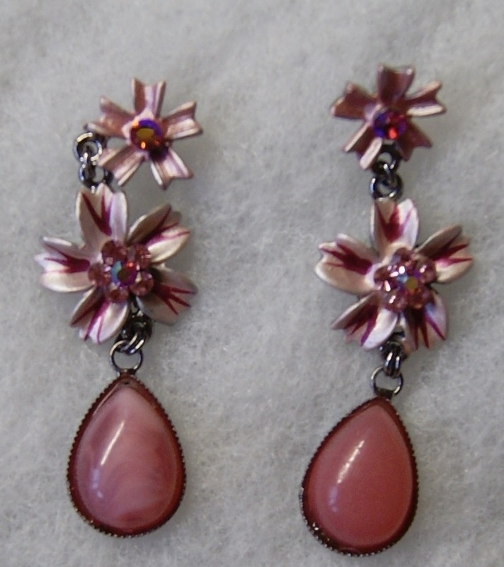 Romantische ROSE ROZE glinsterende bloemen-oorbellen - 1 pair of Lovely romantic SOFT PINK flower earrings