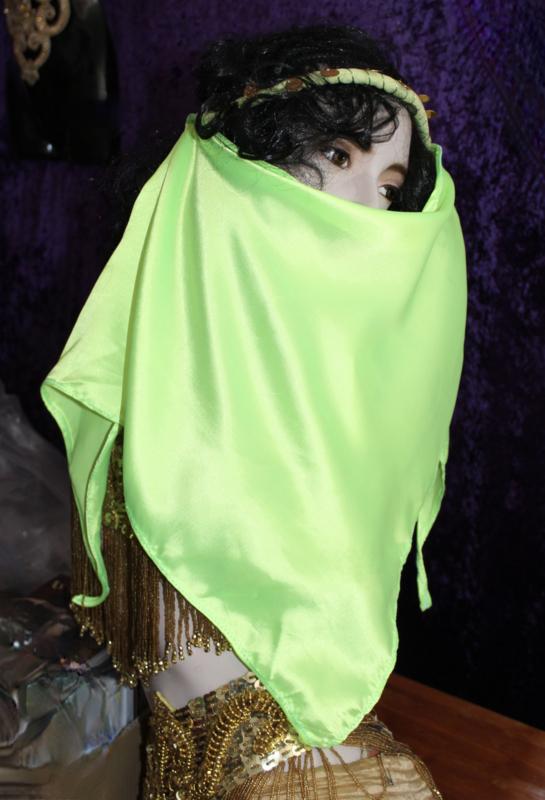 1001 Nacht Harem gezichtssluiertje FLUO GROEN - 1001 Nights Harem veil FLUORESCENT GREEN