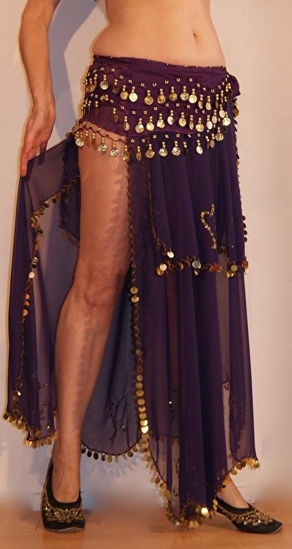 1 1/2 laag Chiffon rok met hoge split PAARS versierd met GOUD + bijpassende muntjesgordel - 1 1/2 layer high slit chiffon skirt PURPLE, GOLD decorated  + matching coinbelt