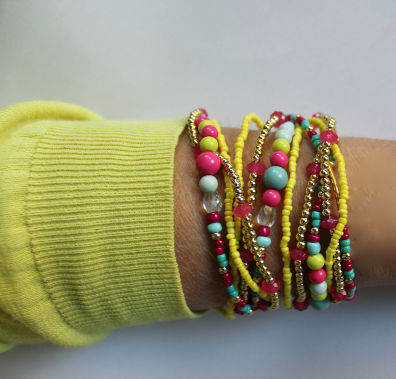 "Halssnoer / armband kralenketting 3 stuks Ibiza ""Sunshine"" fluo GROEN-GEEL FUCHSIA TURQUOISE GOUD - 3-piece Small beads Ibiza ""Sunshine"" necklace /bracelet  GREENISH-YELLOW TURQUOISE FUCHSIA GOLD"