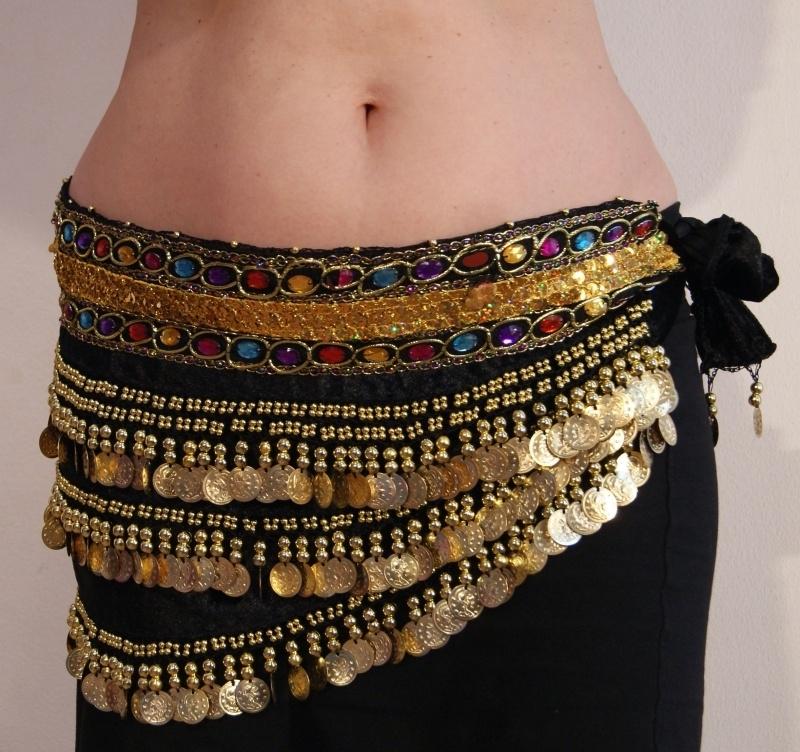 ZWART GOUDEN fluwelen gordel met 2 rijen gekleurde steentjes - GS1g - BLACK Velvet, GOLDEN coins hipbelt with multicolored stones