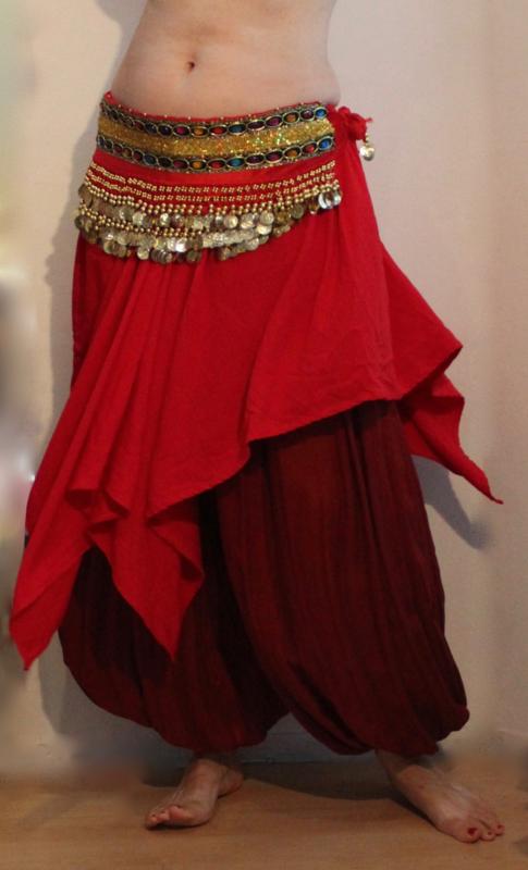 RODE chiffon 4-punten rok met elastiek in de taille - one size - RED chiffon 4-points skirt with elastic waistline