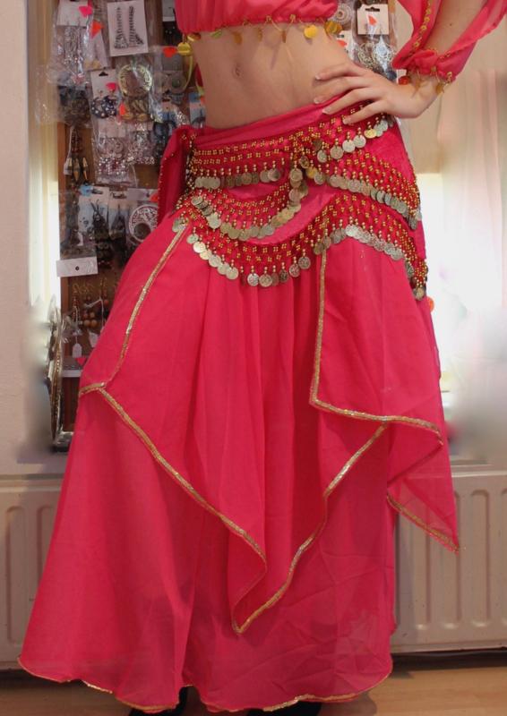 Rok orientaals tulpmodel FUCHSIA FEL ROZE, GOUD / ZILVER - Bellydance skirt oriental tulip FUCHSIA BRIGHT PINK, GOLD / SILVER
