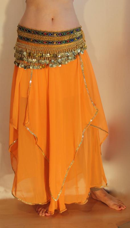 Rok orientaals tulpmodel ORANJE GOUD - XS, S, M - Bellydance skirt oriental tulip ORANGE GOLD
