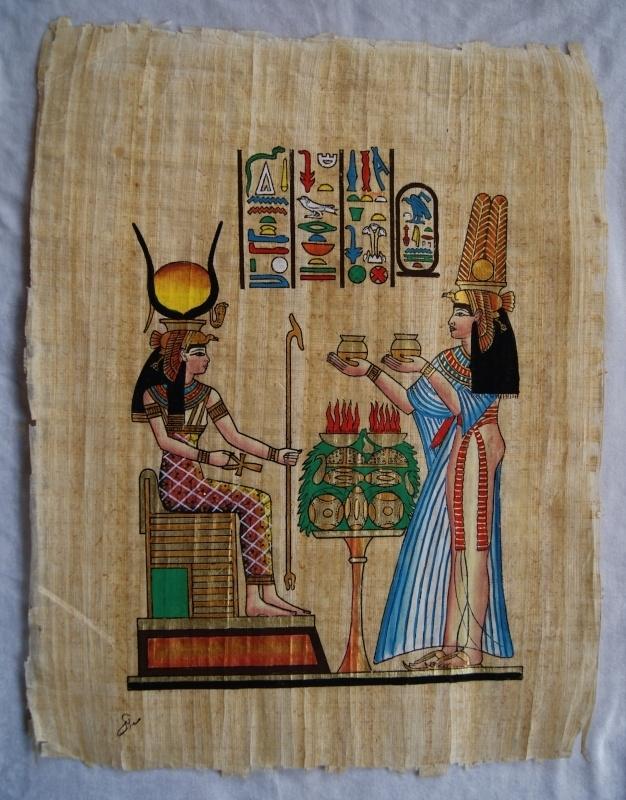 Originele Egyptische papyrus met faraonische afbeeldingen 2