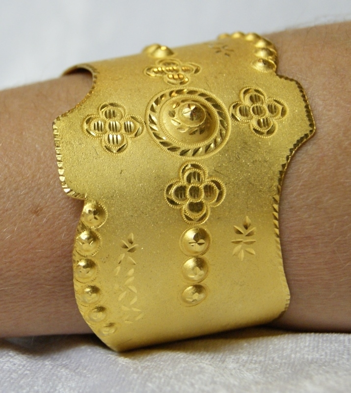 Goudkleurige armband - golden bracelet India doublé