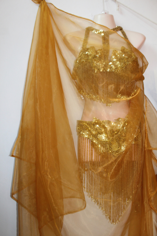 Sluier rechthoekig transparant organza GOUD kleurig  105 cm x 245 cm - Veil transparent rectangular organza GOLD COLOR