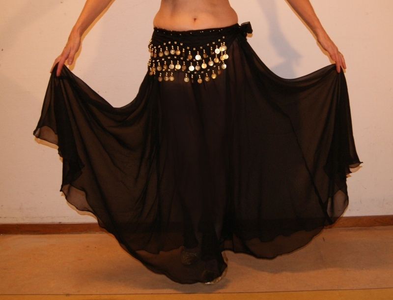 Cirkelrok chiffon ZWART transparant - one size - Full Circle skirt BLACK transparent