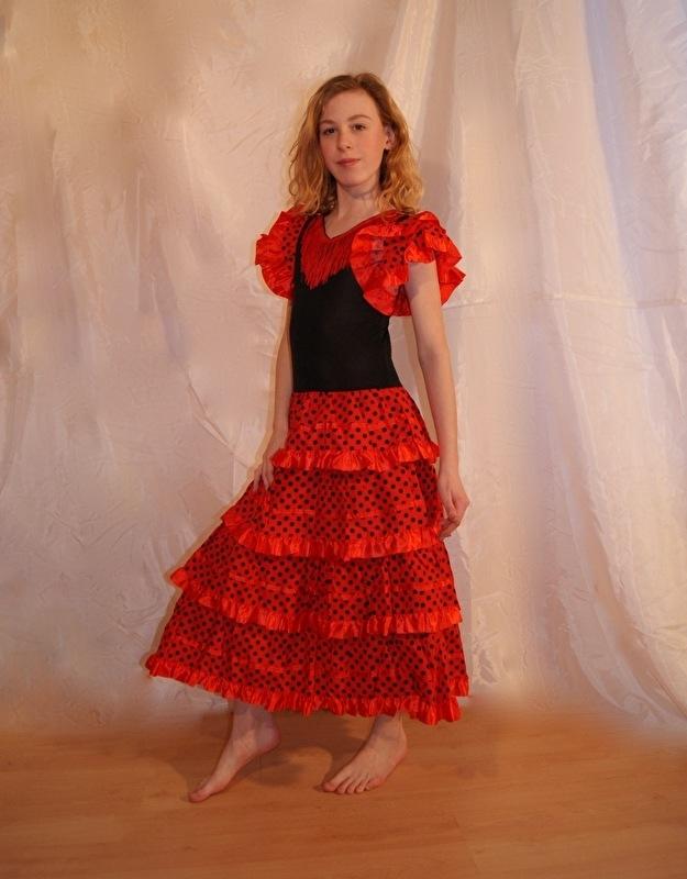 Spaanse Flamenco jurk voor meisjes ROOD - prinsessenjurk - Spanish Flamenco dress for girls RED
