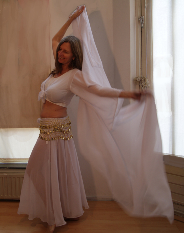 WITTE transparante cirkelrok  chiffon - one size fits S, M, L, XL - Transparent full circle skirt WHITE