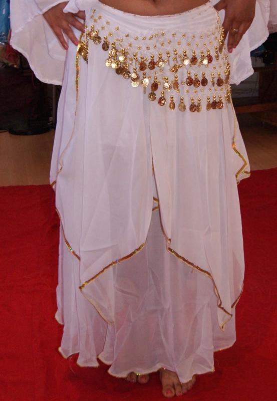 Rok orientaals tulpmodel WIT GOUD / ZILVER 3-lagen  - Small Medium - 3-layer Skirt oriental tulip WHITE GOLD / SILVER