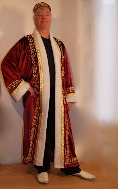 Sultan / Sheik / Sjeik luxe harem jas BORDEAUX ROOD met WITTE kunst bont rand -  one size - Sheik overcoat de luxe WINERED / BURGUNDY / DARK RED artificial fur rimmed WHITE