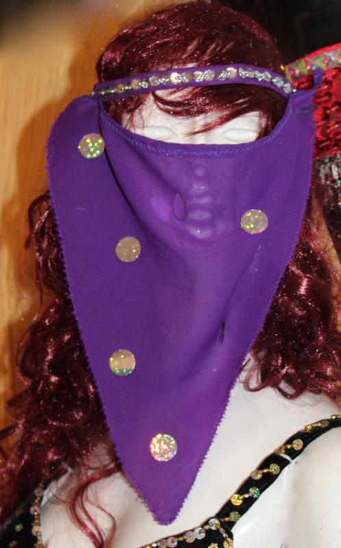 PAARS harem sluiertje met ZILVEREN pailletten en glinsterende hologram muntjes -PURPLE Harem veil, SILVER decorated