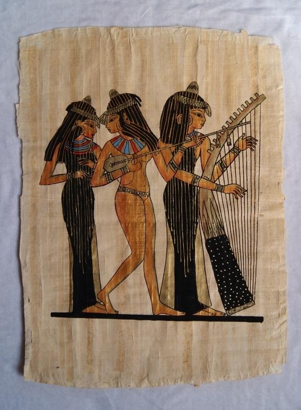 Originele Egyptische papyrus met faraonische afbeeldingen 4 : muzikantes / musiciens - Original Egyptian Papyrus drawings