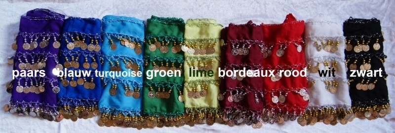 Buikdansgordel chiffon met rijen muntjes G59 PAARS BLAUW TURKOOIS GROEN LIME BORDEAUX ROOD WIT ZWART ROZE- G59 - Bellydance coinbelt PURPLE BLUE TURQUOISE GREEN LIME WINERED RED WHITE BLACK PINK