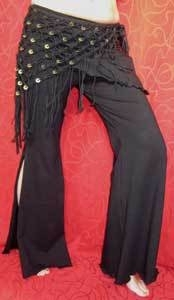 Tribal Fusion stretch broek ZWART - Tribal fusion pants for bellydancers - Pantalon tribal pour la danse orientale ATS