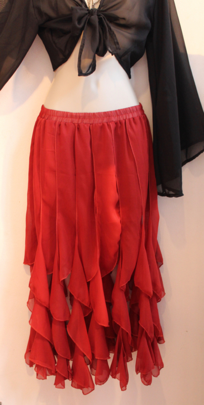 Slierten rok BRUIN /ROODBRUIN  - one size - BROWN / RED-BROWN twisted ribbons skirt