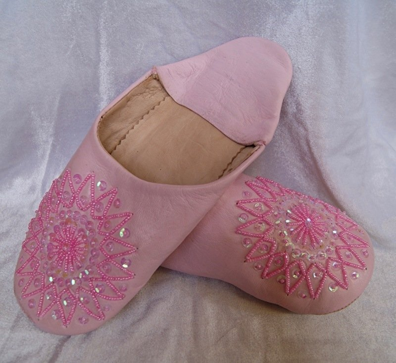 Babouches dames pailletten en kralen ZACHT ROZE / LICHT ROSE - maat 36, 37, 38, 39 size - Babouches ladies  SOFT PINK