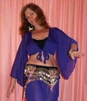 Gipsy Vleermuis topje chiffon, knooptopje met wijde mouwen midden PAARS VIOLET - Gypsy Butterfly top with wide sleeves PURPLE