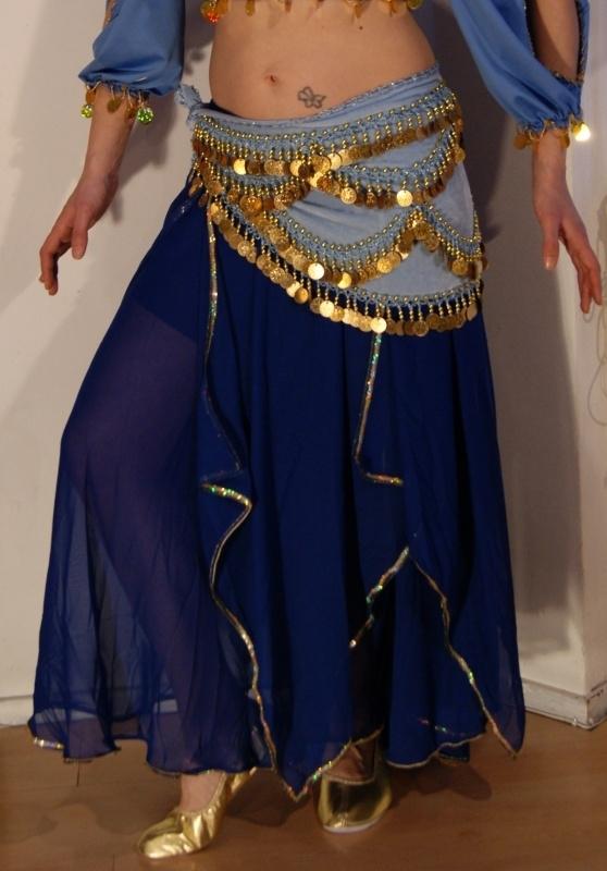 Rok orientaals tulpmodel BLAUW GOUD - Bellydance skirt Oriental Tulipe BLUE GOLD