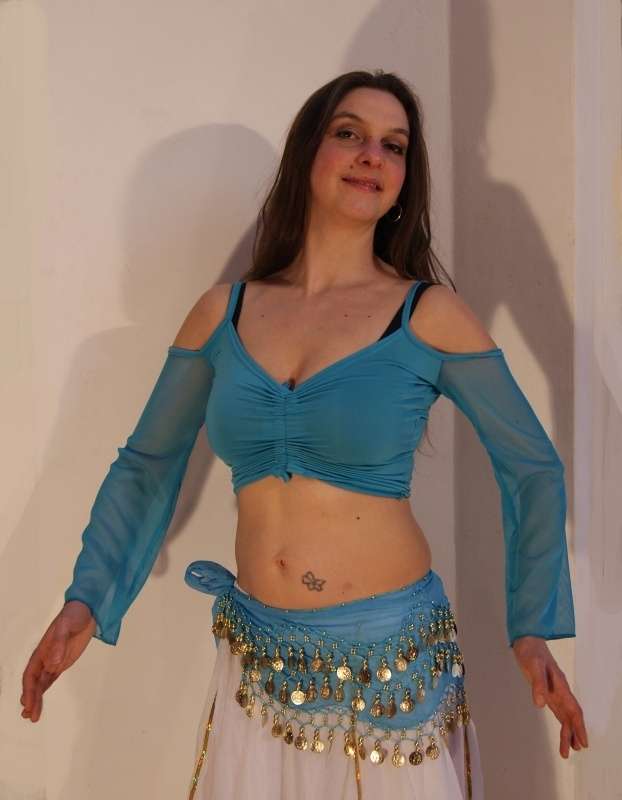 """Stretch oefentopje """"Yasmin"""" met verstelbare hoogte turkoois TURQUOISE- Stretch crop top TURQUOISE BLUE"""