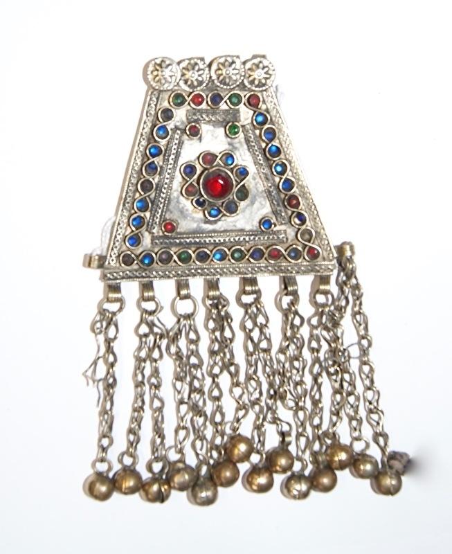 Pendant trapezium vorm met RODE en BLAUWE geslepen glaskralen en achten ingelegd - Vintage Pendant16 - Pendant trapezium with RED and BLUE glass beads and figure 8 inlay