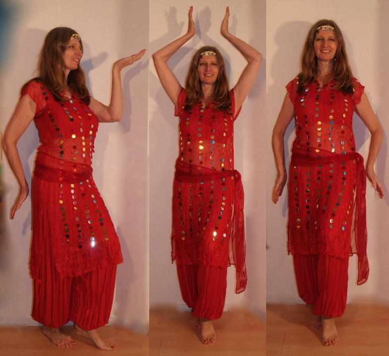 3-delig Cleopatra ensemble : transparante netjurk/tuniek ROOD met multicolor muntjes+ bijpassend heupsjaaltje + hoofdbandje met muntjes - S M L XL - 3-piece Cleopatra set : transparent net dress ROOD with multicolored coins + matching hip