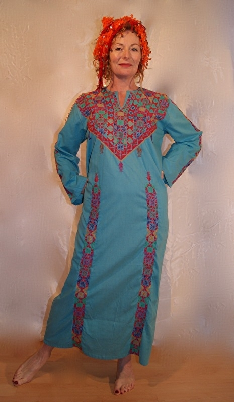 Originele Bedoeïnen jurk met kruissteek uit Egypte TURQUOISE BLAUW - Badou Thobe - Authentic Bedouin Thobe Egypt TURQUOISE BLUE dress