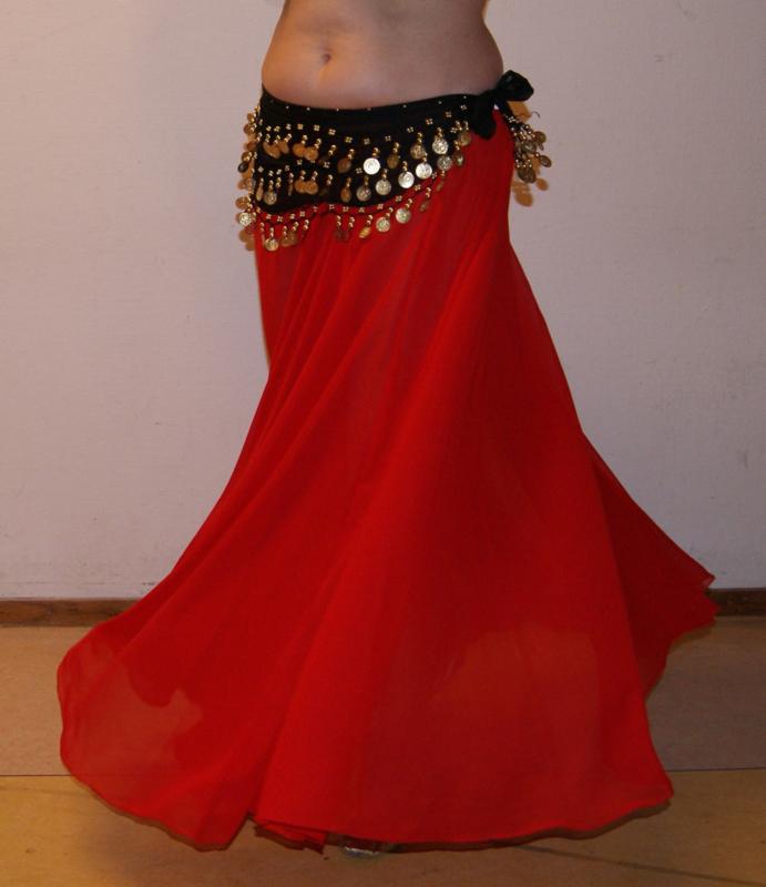 Cirkelrok chiffon ROOD licht transparant - Long - Full Circle skirt RED slightly transparent