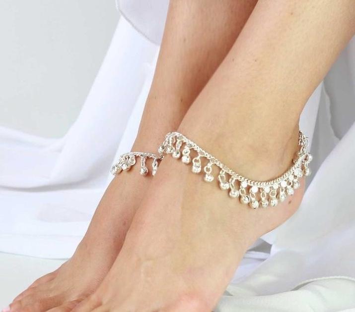 1 paar Enkelbandjes ZILVER kleurig - Medium/Large 25 cm - 1 pair of SILVER colored anklets
