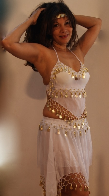 3-delig Harem setje dames : hoofdbandje + topje + rokje WIT - XXS XS S - 3-piece set harem costume ladies WIT