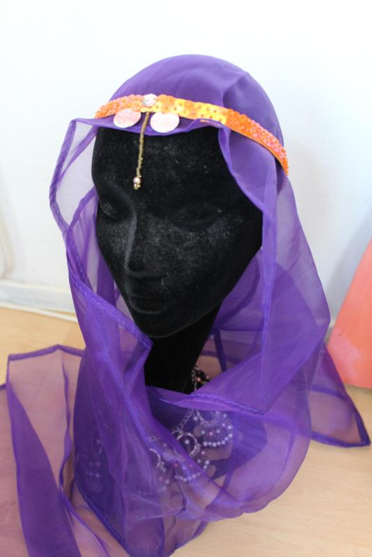 Pailletten glitter hoofdbandje ORANJE PARELMOER - Fully sequinned Glitter headband ORANGE