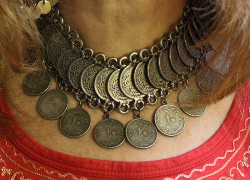 Boho Hippie Chic Halssnoer Choker faraonisch, ZILVER kleur met grote munten - farao7 - Bohemian Ibiza hippy chick, Pharaonic necklace, choker, SILVER color with big coins