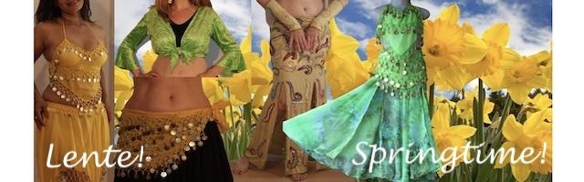 Lente springtime groen gele buikdanskleding buikdanskostuums juwelen