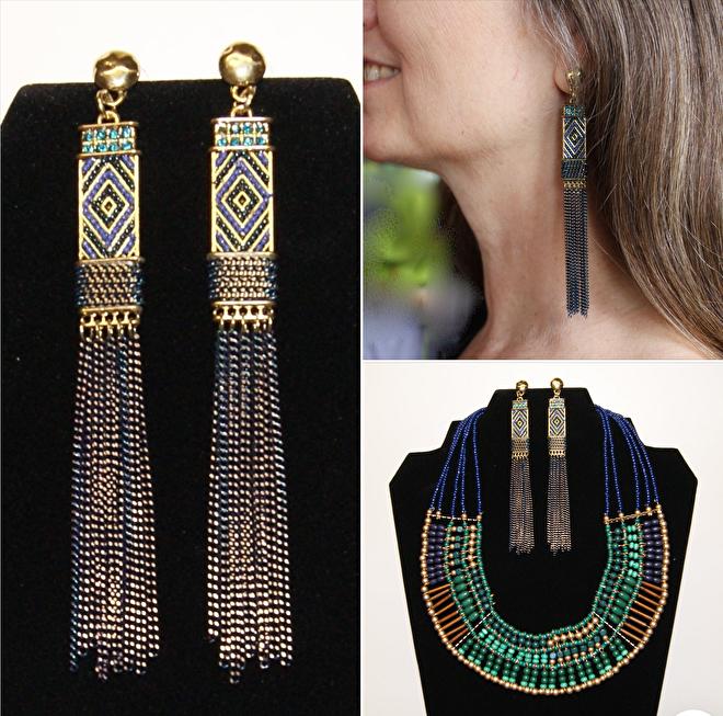 Farao2 juwelenset halssnoer oorbellen groen goud