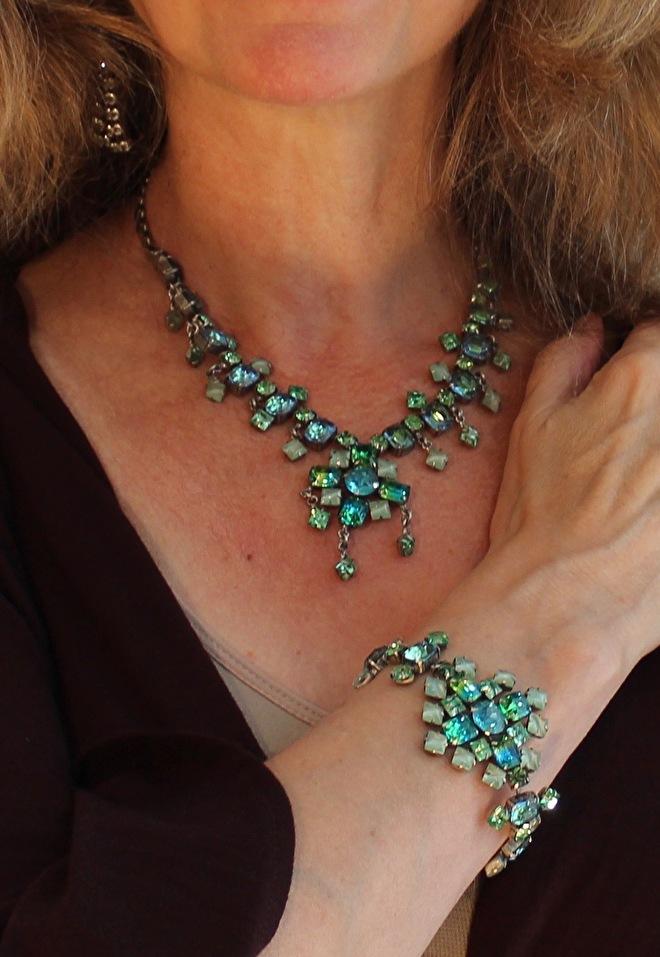 strass juwelen set aqua groen halssnoer armband
