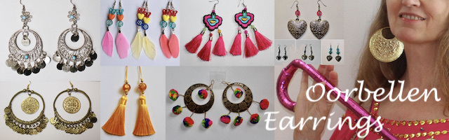 Oorbellen muntjes, Ibiza Boho Bohemian hippie chic earrings, gypsy style boucles d'oreilles