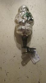 Zilveren kerstman op knijper