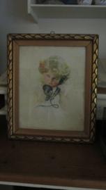 B650 Oud schilderijtje meisje met telefoon