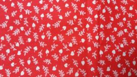 Quiltstofje Rood met Witte Blaadjes