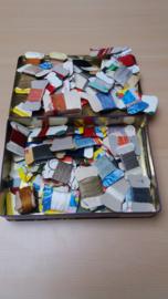 Restant Borduurzijde op Kaartjes 92 stuks Inclusief Blik