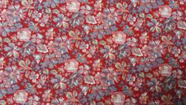 Quiltstofje Rood met Bloemen